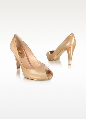 Sand Patent Leather Peep-Toe Pump Shoes - Mario Bologna