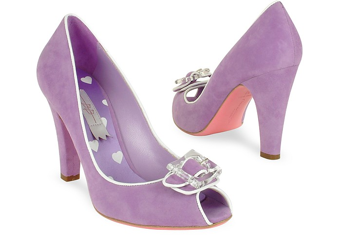 Lilac Suede Peep-toe Pump Shoes - Mario Bologna