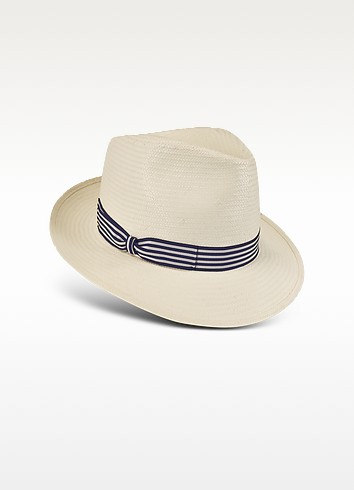 Blue and White Stripe Band Panama Hat - Borsalino