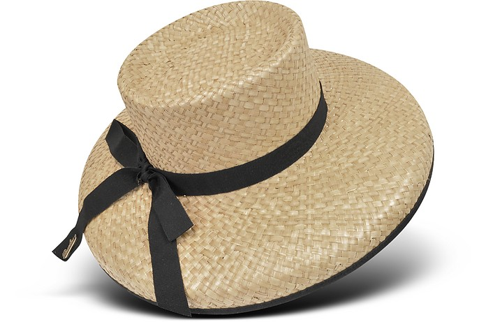 Women's Black Ribbon Straw Hat - Borsalino