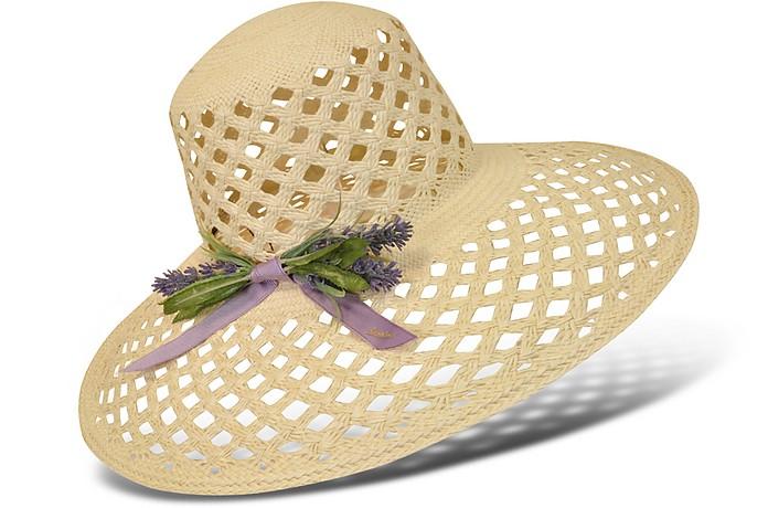 Women's Lavender Bow Straw Hat - Borsalino
