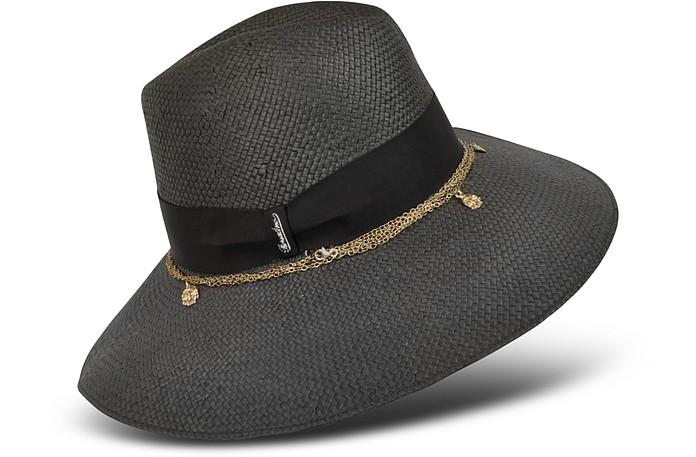 Women's Skull Charm Black Straw Hat  - Borsalino