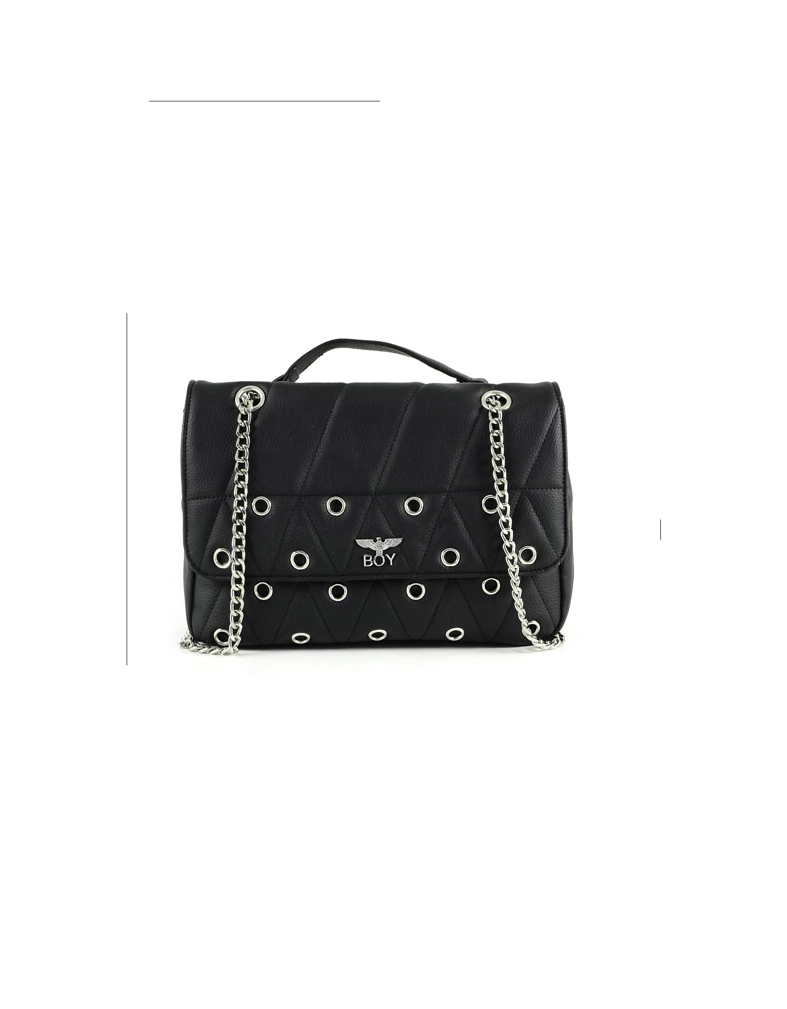 BOY London Designer Handbags, Black Synthetic W/Grommets Leather Shoulder Bag