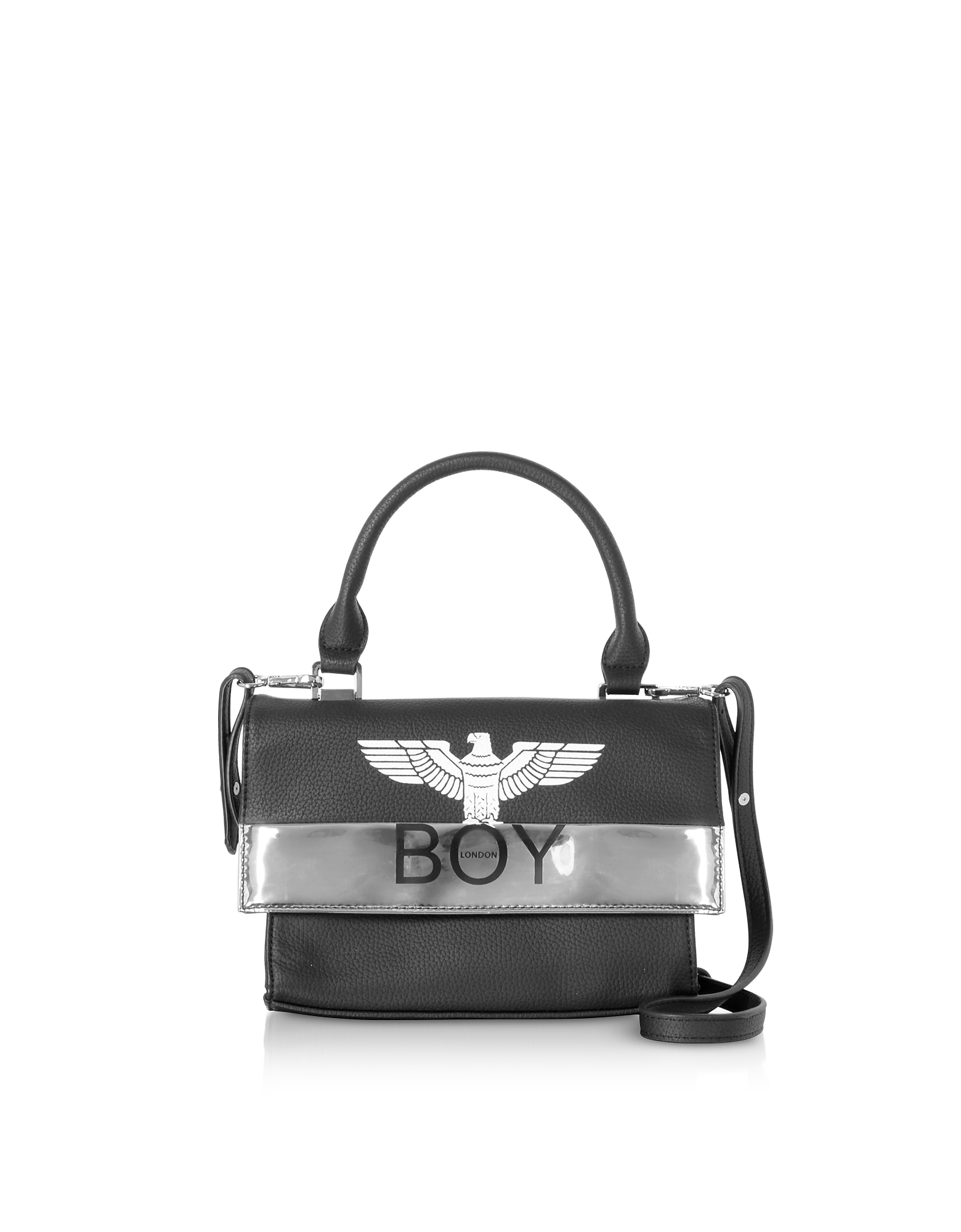 BOY London Designer Handbags, Black & Silver Synthetic Leather Top Handle Bag