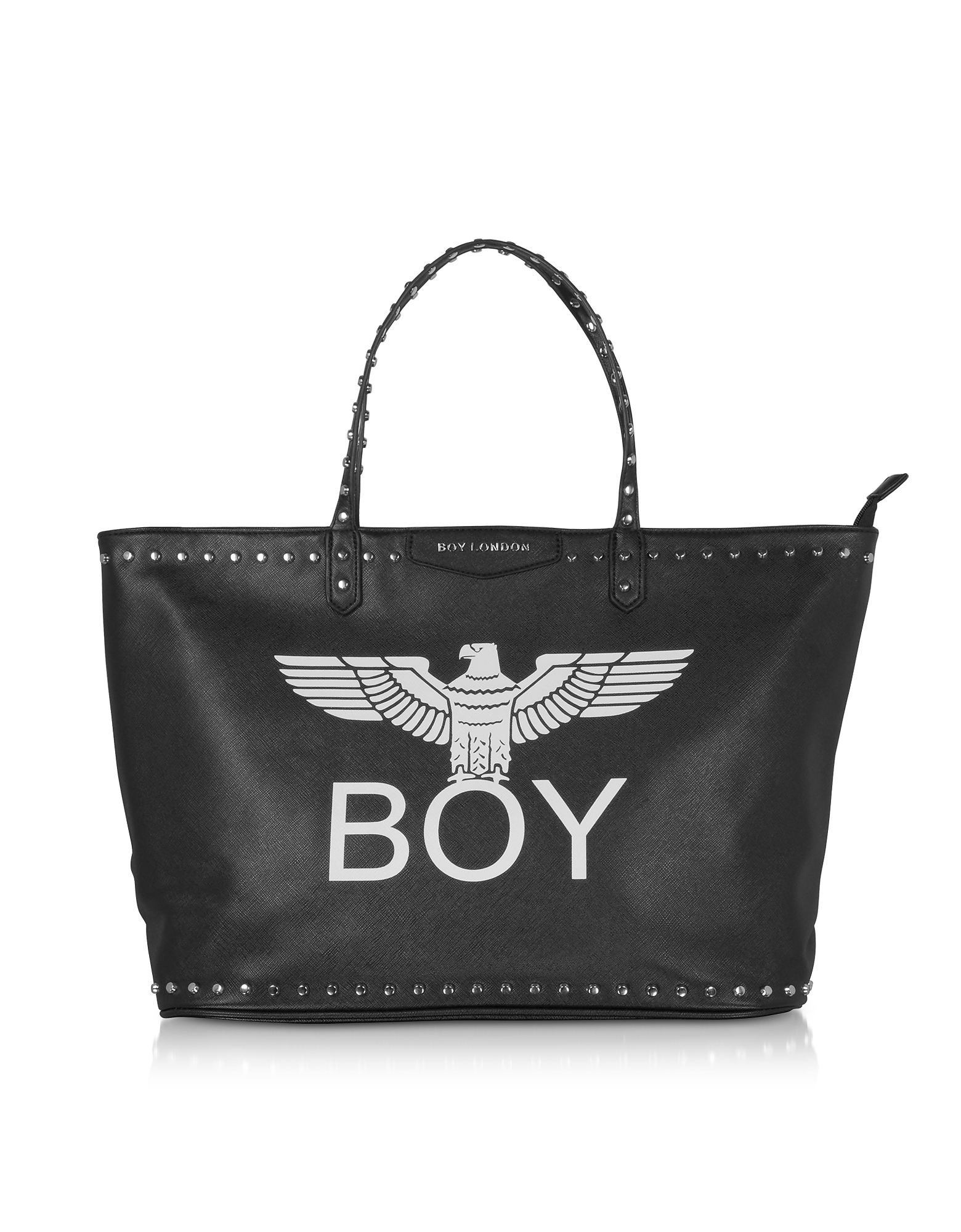 BOY London Designer Handbags, Black Synthetic Leather Tote Bag