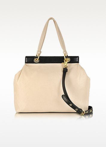 Lisbeth Bi-Color Leather Satchel - Badgley Mischka
