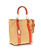 Miranda Woven Reed Canvas and Leather Tote - Badgley Mischka