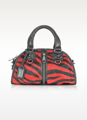 Cleo Calfhair - Red Zebra Print Bowler - Badgley Mischka