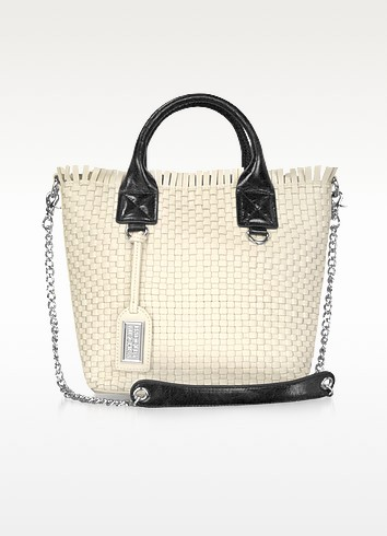 Willow White Woven Leather Tote - Badgley Mischka