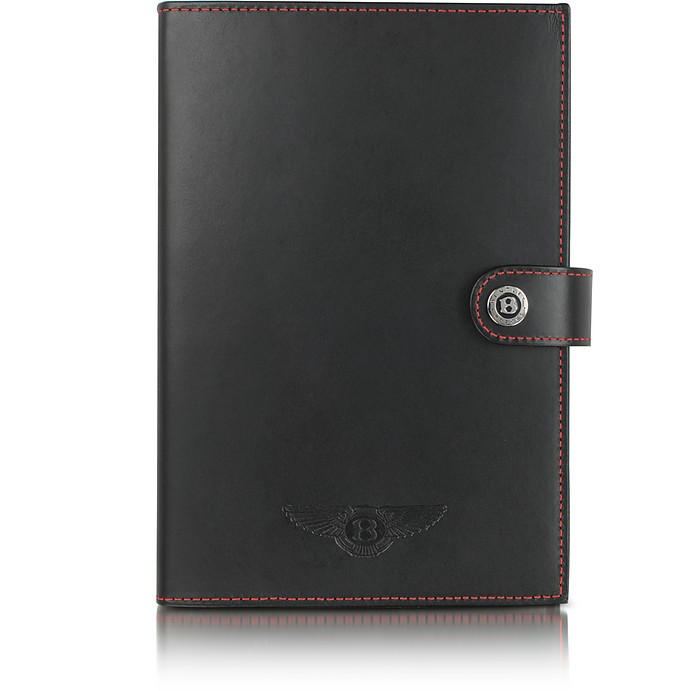 Ettinger Large Black Leather Notebook - Bentley
