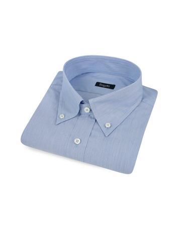 Bagutta Baumwollhemd mit Button-Down-Kragen und Microstreifen in blau