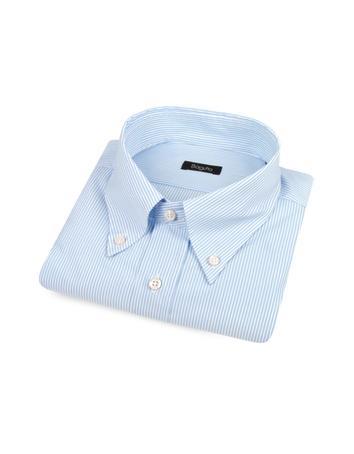 Bagutta Baumwollhemd mit Button-Down-Kragen mit blauen Nadelstreifen