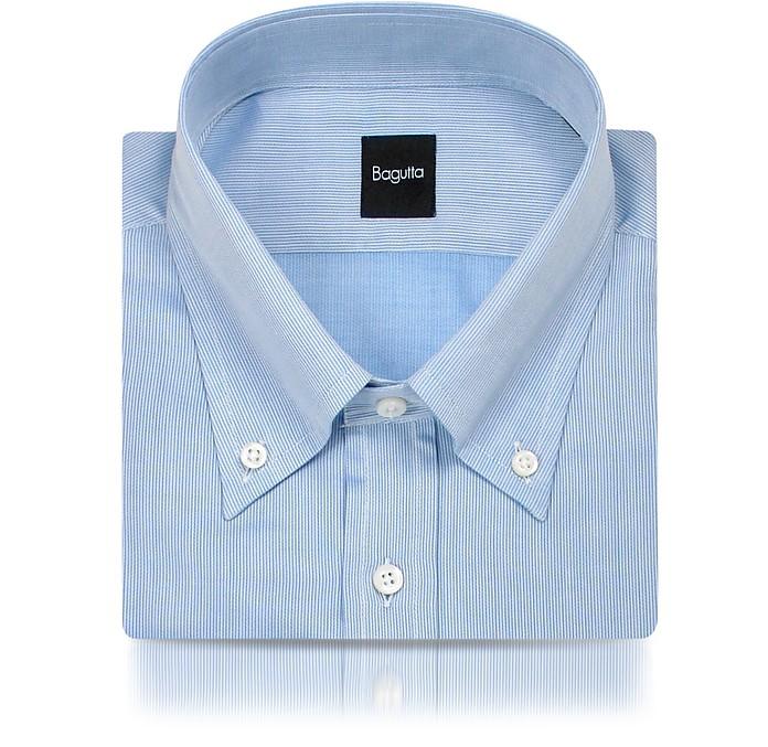 Blue Fine Lines Italian Button Down Dress Shirt - Bagutta
