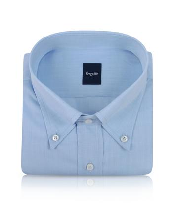 Bagutta Italienisches Baumwollhemd mit Button-Down-Kragen und Fischgrätenmuster in hellblau