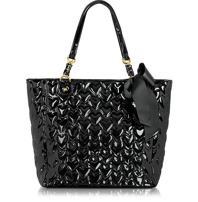Mine & Yours Quilted Patent Eco Leather Tote - Betsey Johnson