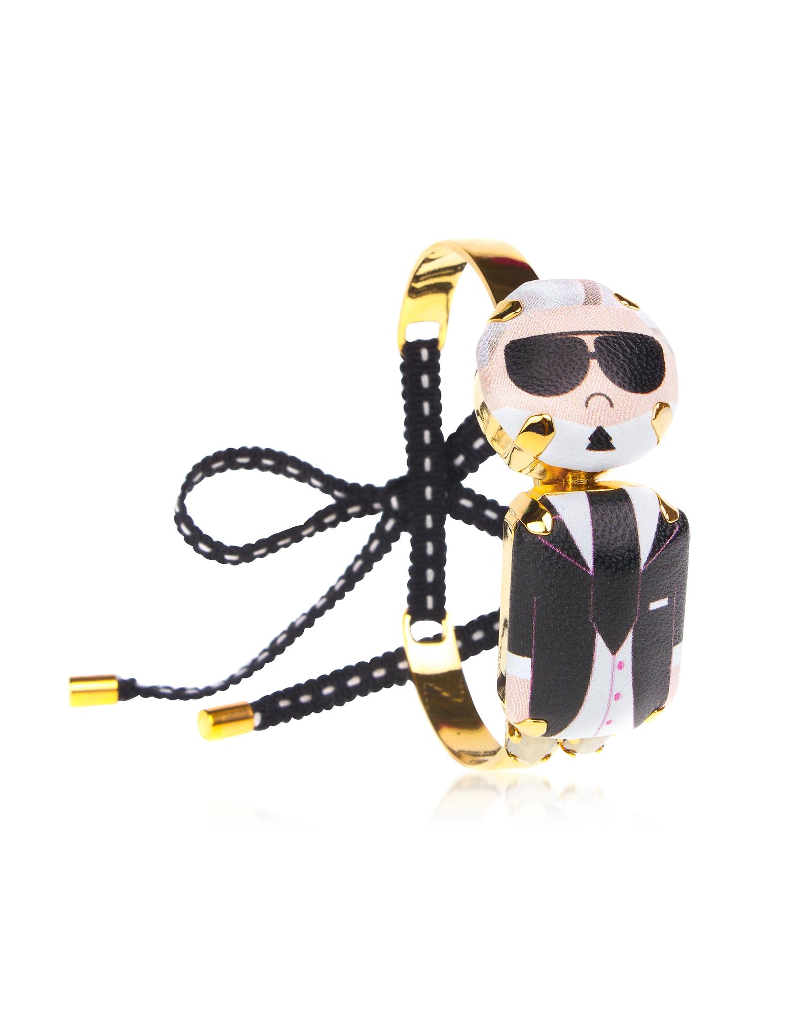Karl Mini Choker Bracelet, Black / white