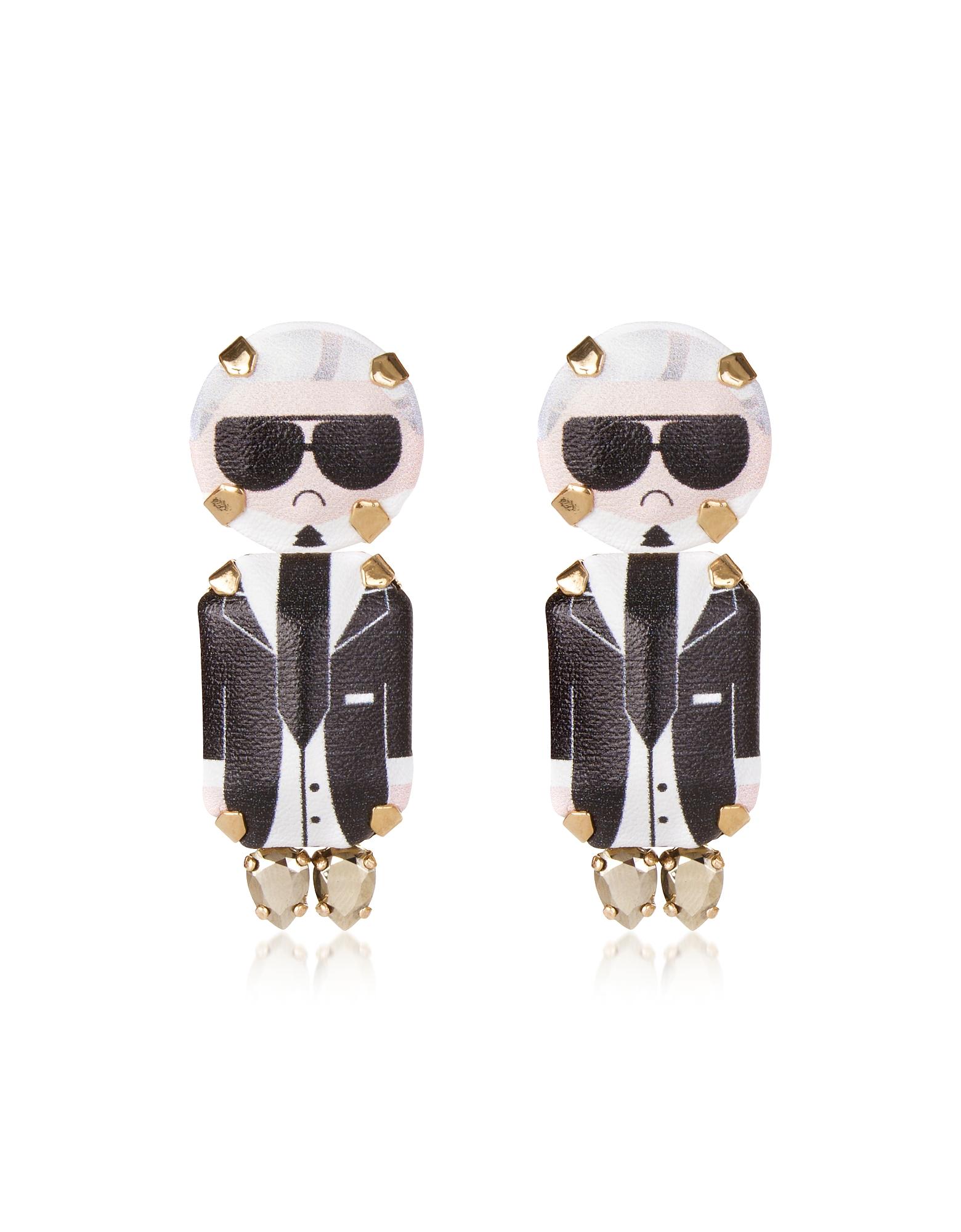 Karl Pendant Earrings, Black
