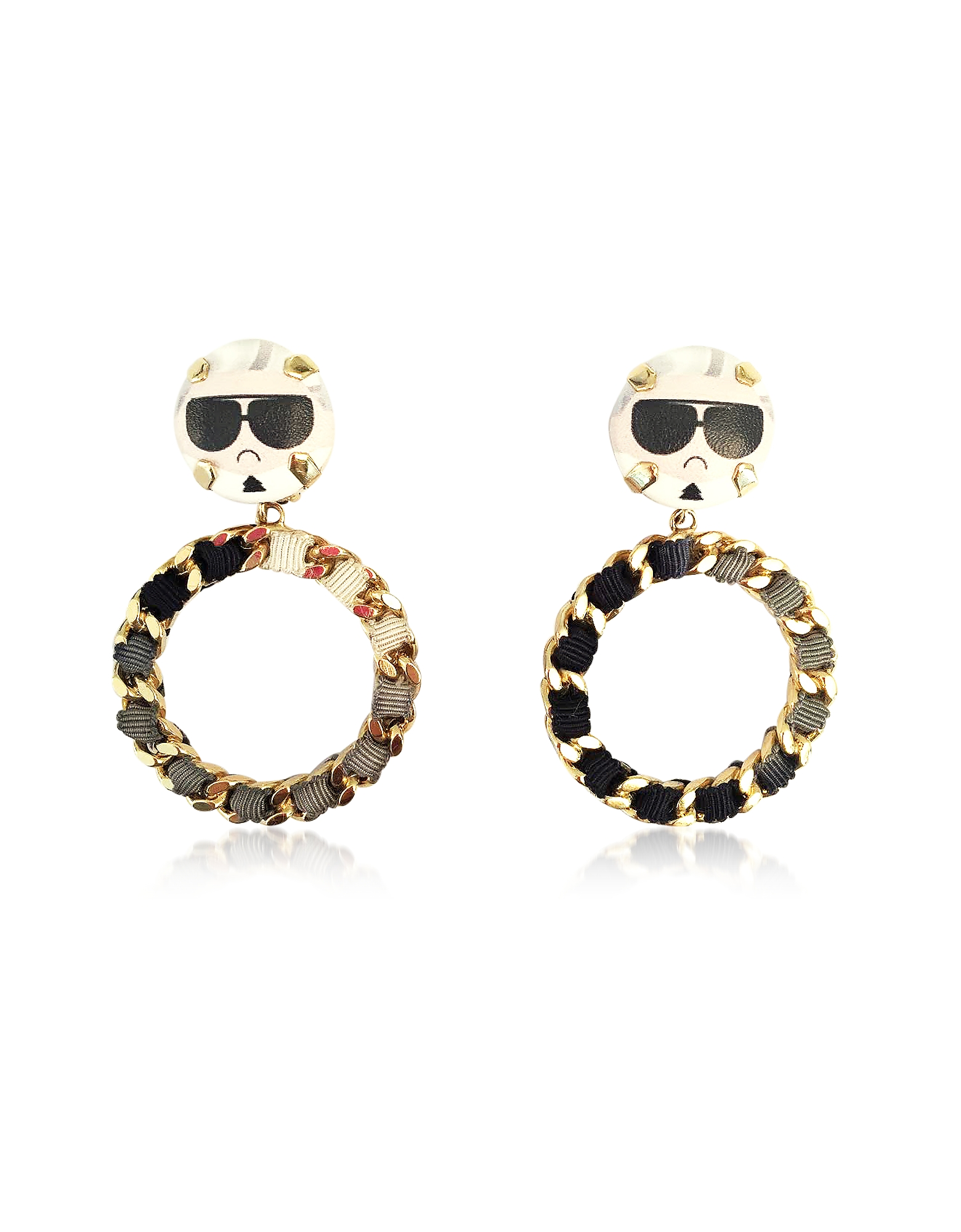 Karl Hoops Earrings, Multicolor