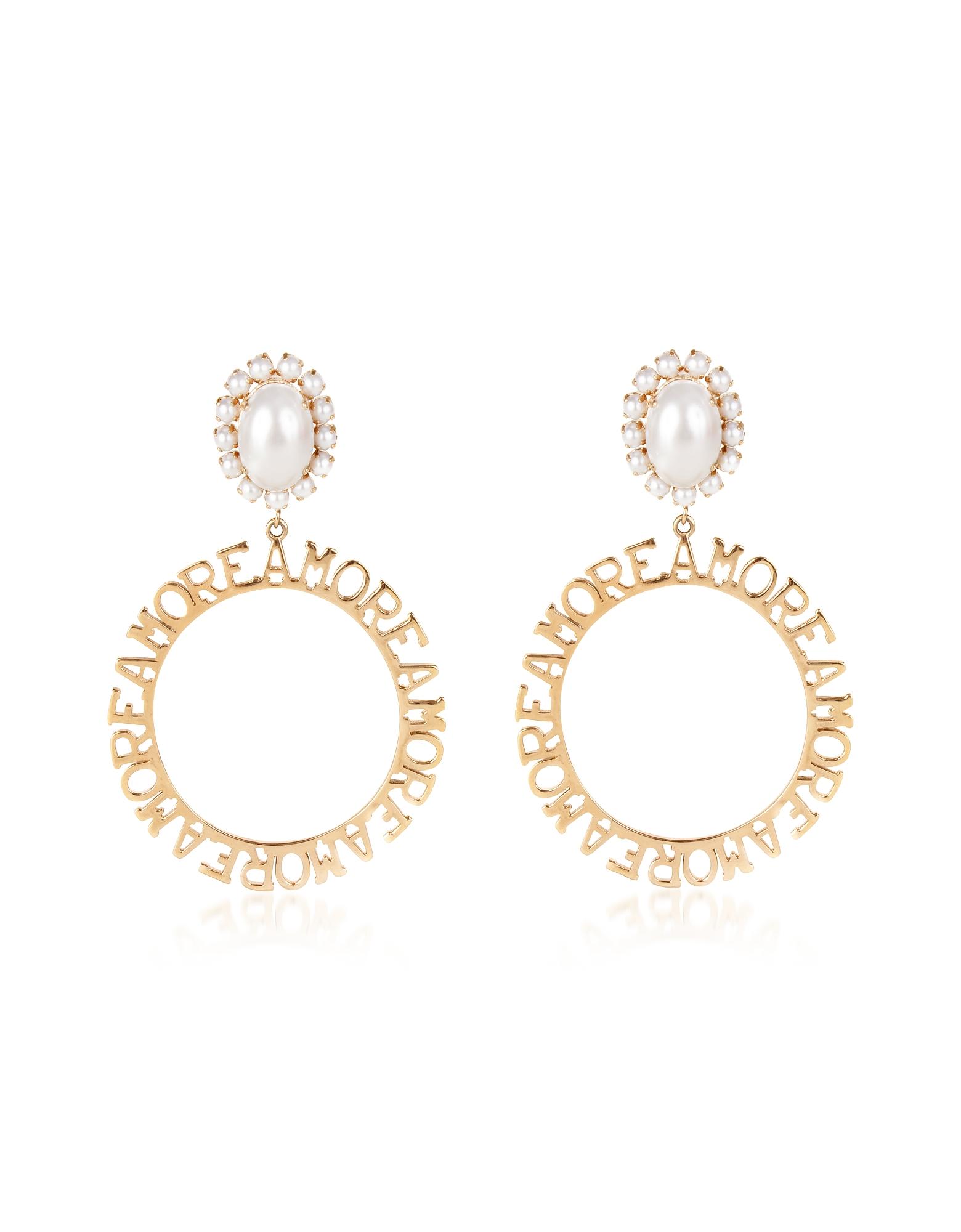 Amore Hoops Earrings, Gold