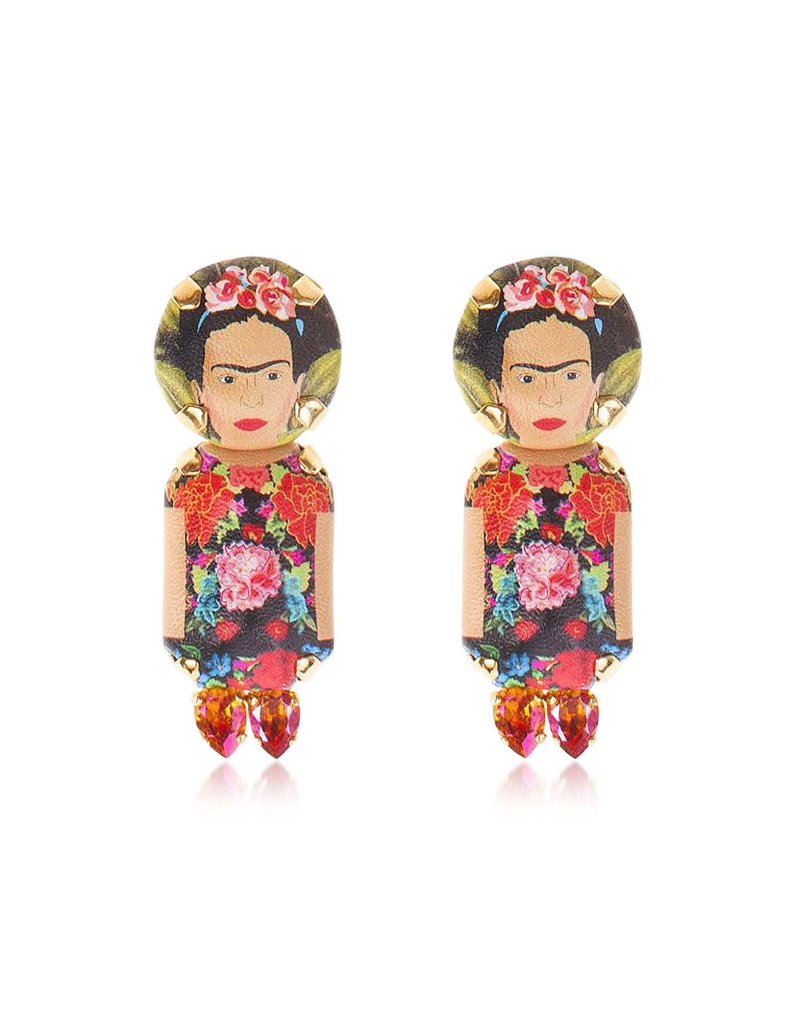 Frida Pendant Earrings, Multicolor