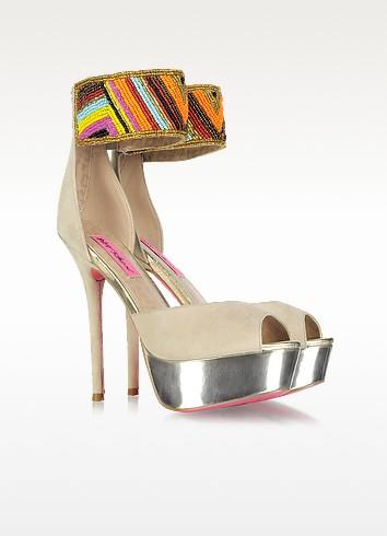 Ireen - Embroidered Beige Suede Platform Sandals - Betsey Johnson