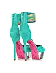 Ireen - Embroidered Aqua Suede Platform Sandals - Betsey Johnson