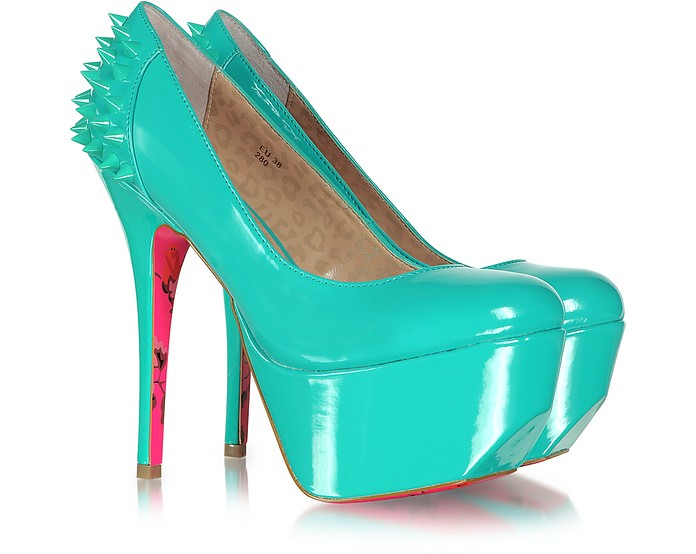 Ginger Aqua Patent Leather Platform Pumps - Betsey Johnson