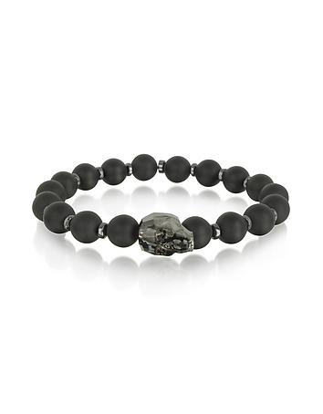 Black Agate Small Stone Men's Bracelet w/Gunmetal Swarovski Crystal Skull