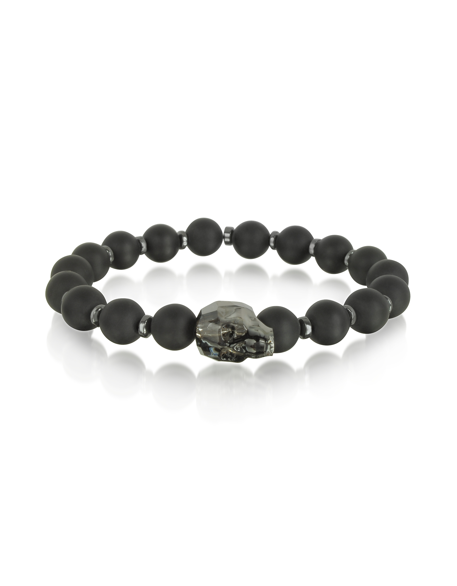 Blackbourne Men's Bracelets, Black Agate Small Stone Men's Bracelet w/Gunmetal Swarovski Crystal Sku