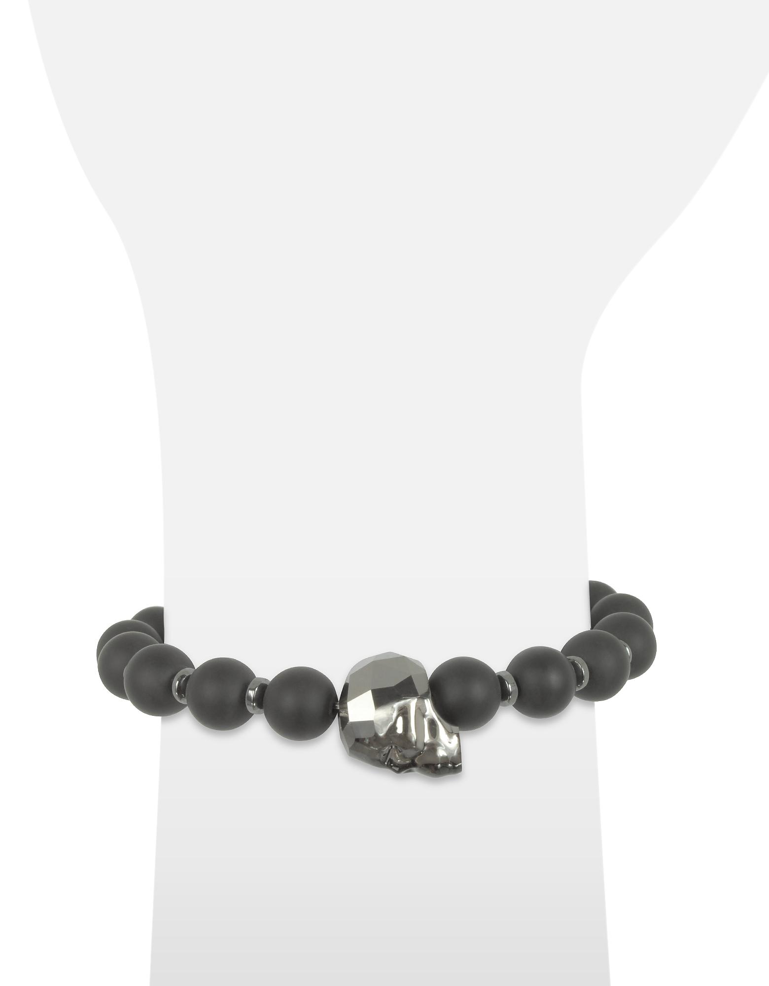 Black Agate Small Stone Men's Bracelet w/Gunmetal Swarovski Crystal Skull от Forzieri.com INT