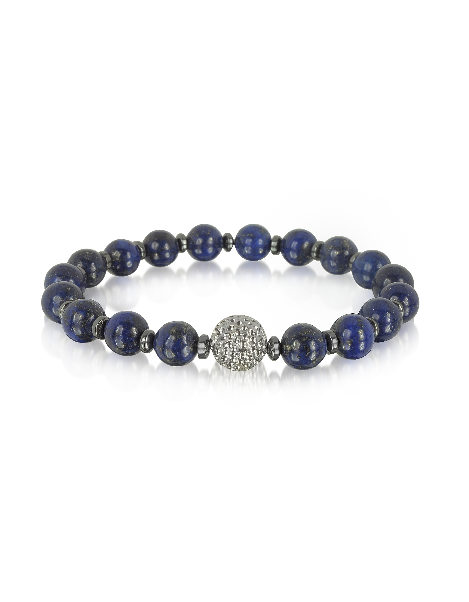 Image of Blackbourne Designer Men's Bracelets, Lapis Lazuli Small Stone Men's Bracelet w/Brass Golf Ball