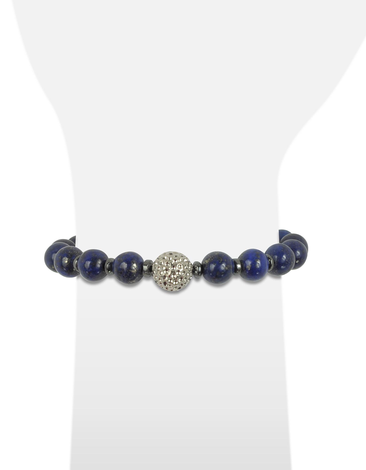 Lapis Lazuli Small Stone Men's Bracelet w/Brass Golf Ball от Forzieri.com INT