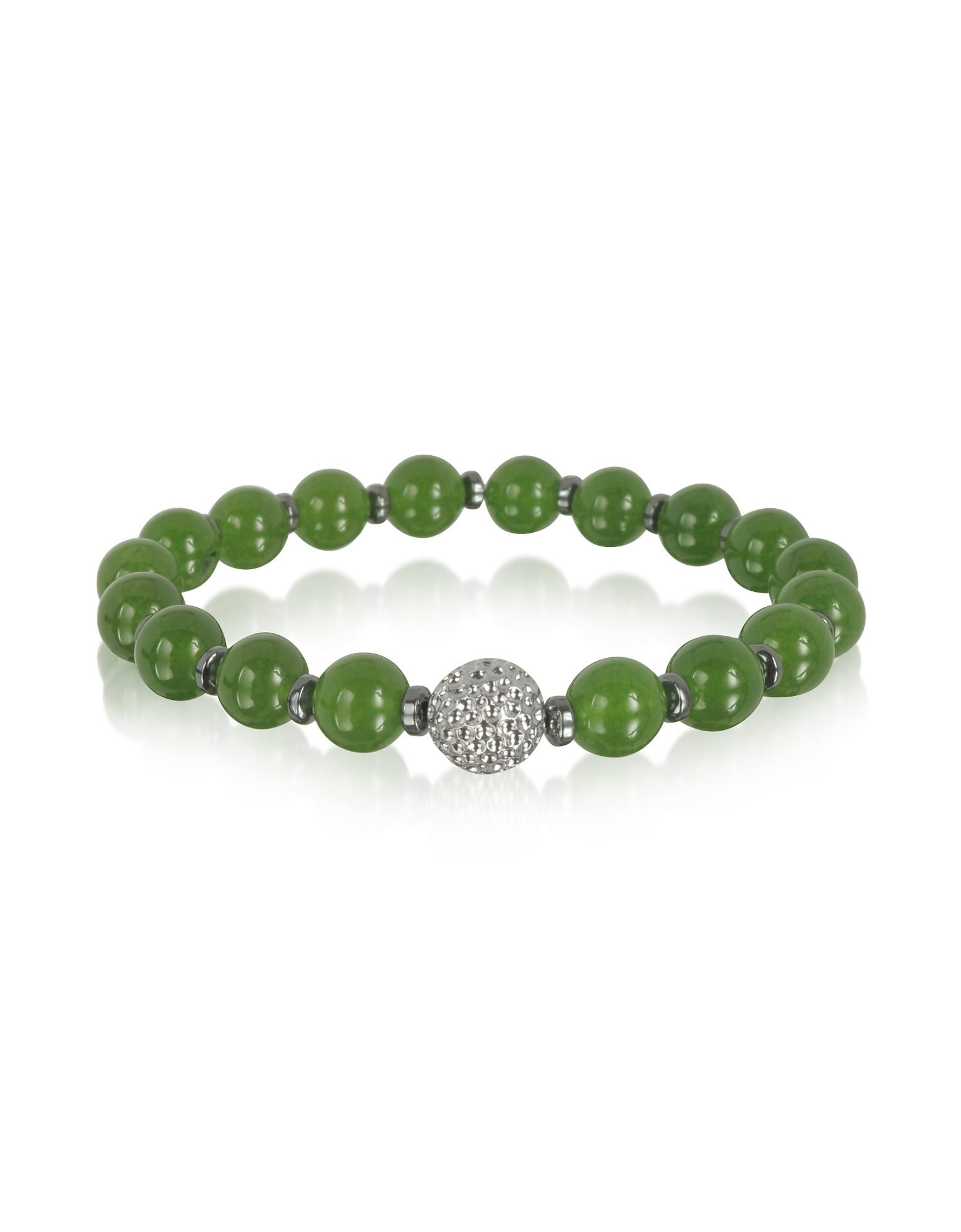 Image of Blackbourne Designer Men's Bracelets, Jade Small Stone Men's Bracelet w/Brass Golf Ball