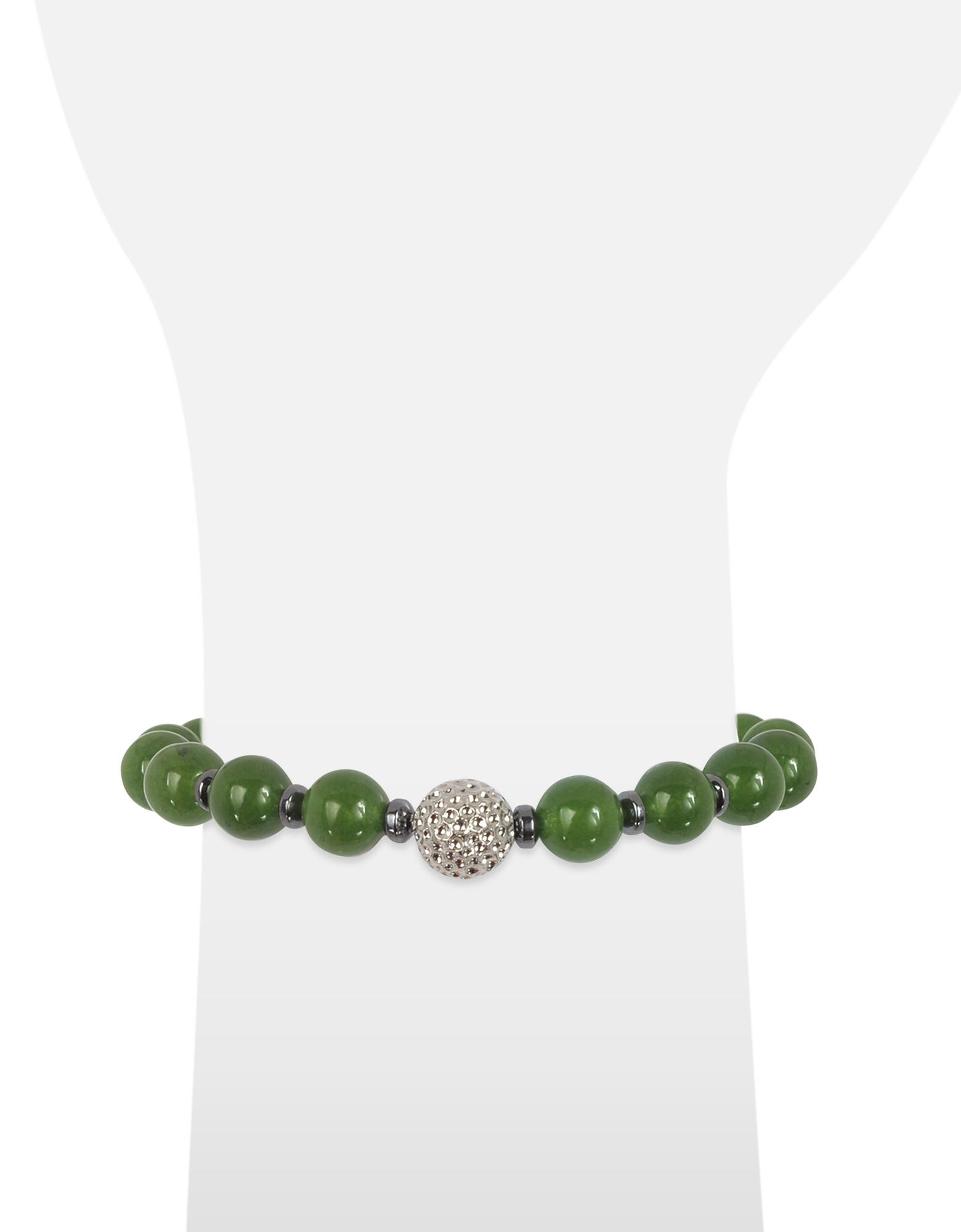 Jade Small Stone Men's Bracelet w/Brass Golf Ball от Forzieri.com INT