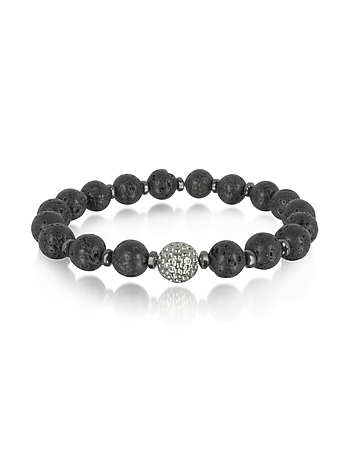 Blackbourne - Lava Small Stone Men's Bracelet w/Brass Golf Ball