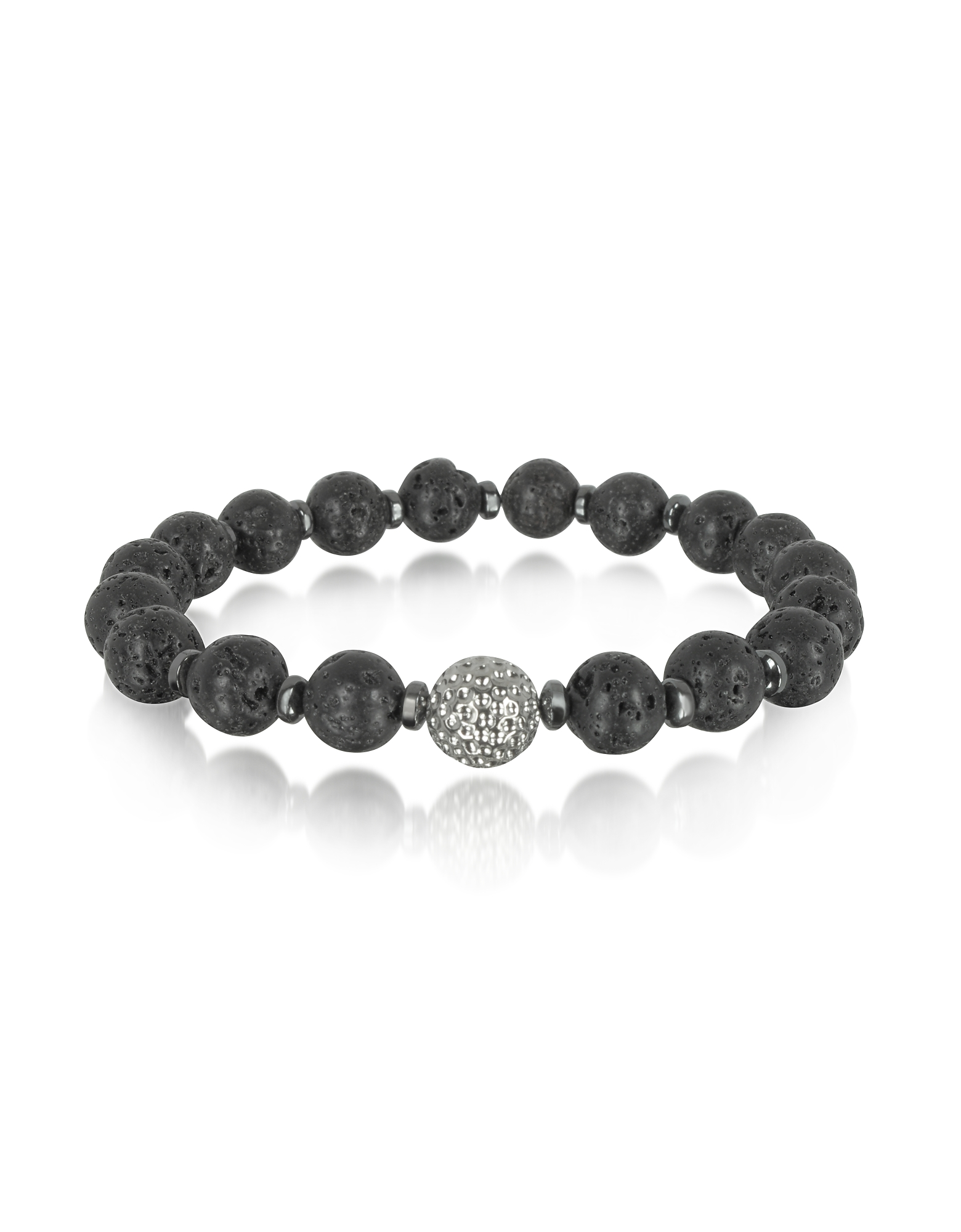 Image of Blackbourne Designer Men's Bracelets, Lava Small Stone Men's Bracelet w/Brass Golf Ball