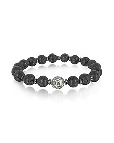 Lava Small Stone Men's Bracelet w/Brass Golf Ball - Blackbourne