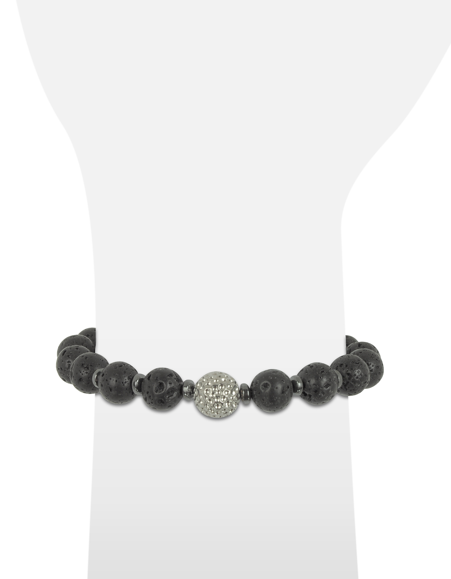 Lava Small Stone Men's Bracelet w/Brass Golf Ball от Forzieri.com INT
