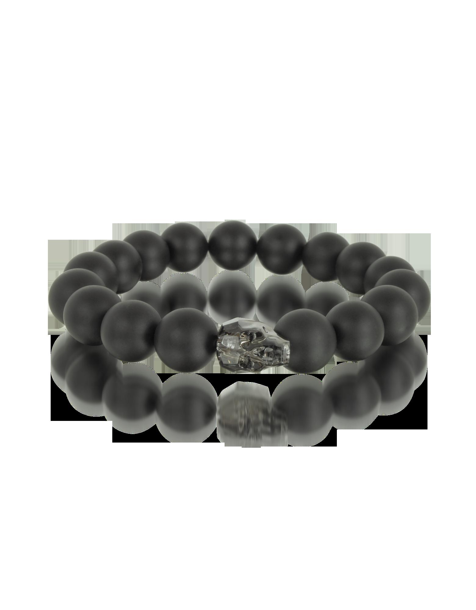 Image of Black Agate Stone Men's Bracelet w/Gunmetal Swarovski Crystal Skull