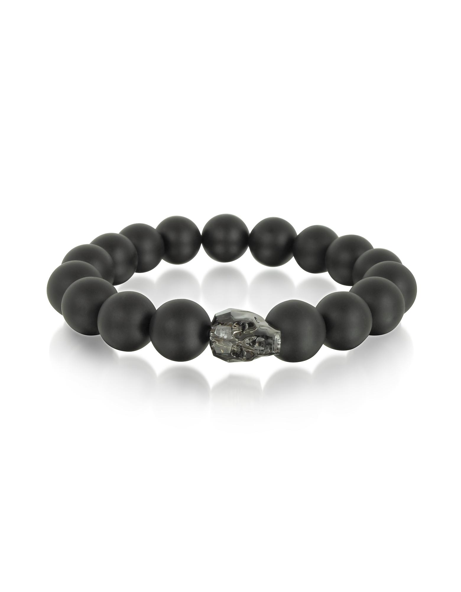 Blackbourne Men's Bracelets, Black Agate Stone Men's Bracelet w/Gunmetal Swarovski Crystal Skull