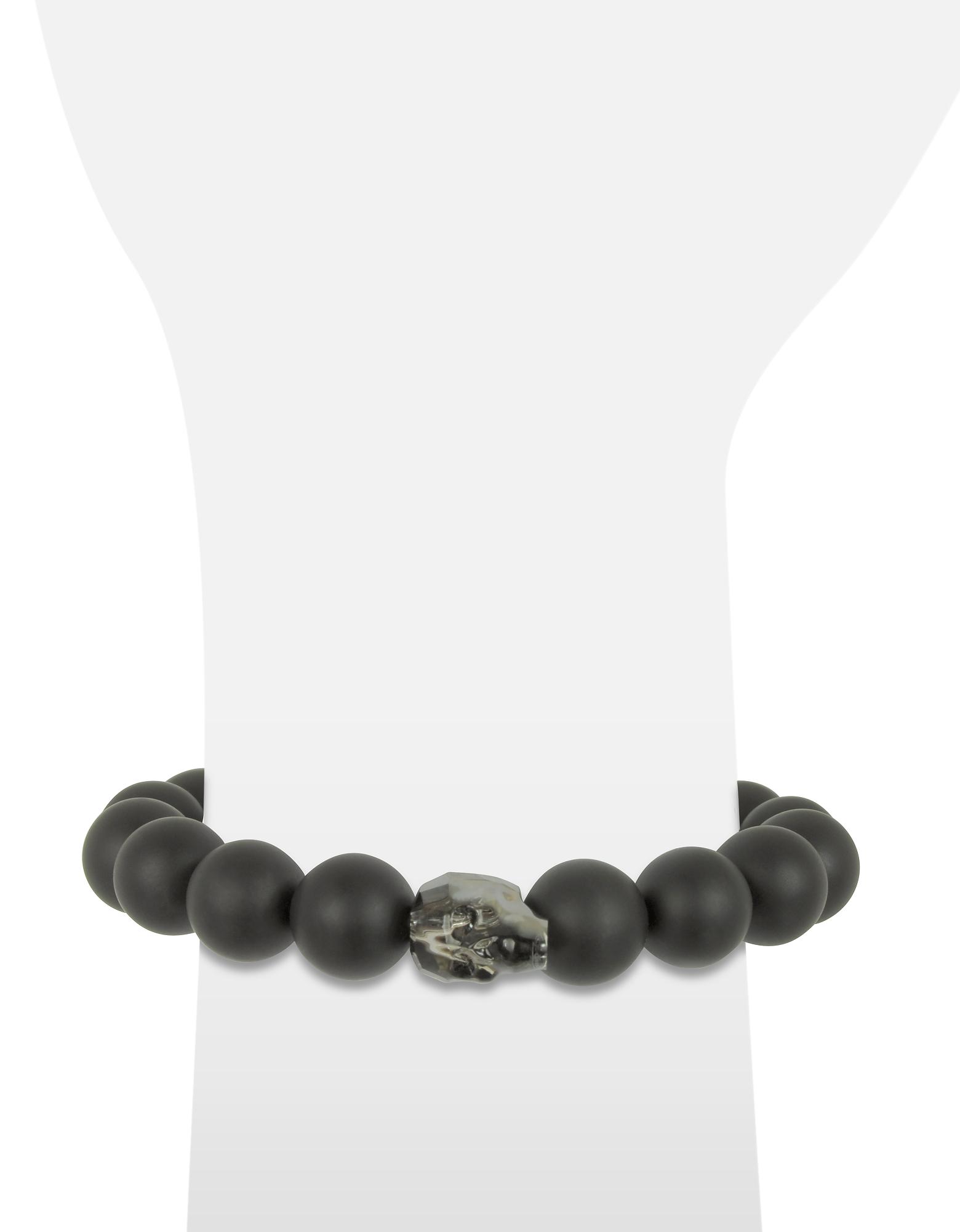 Black Agate Stone Men's Bracelet w/Gunmetal Swarovski Crystal Skull от Forzieri.com INT