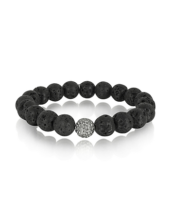 Blackbourne - Lava Stone Men's Bracelet w/Brass Golf Ball