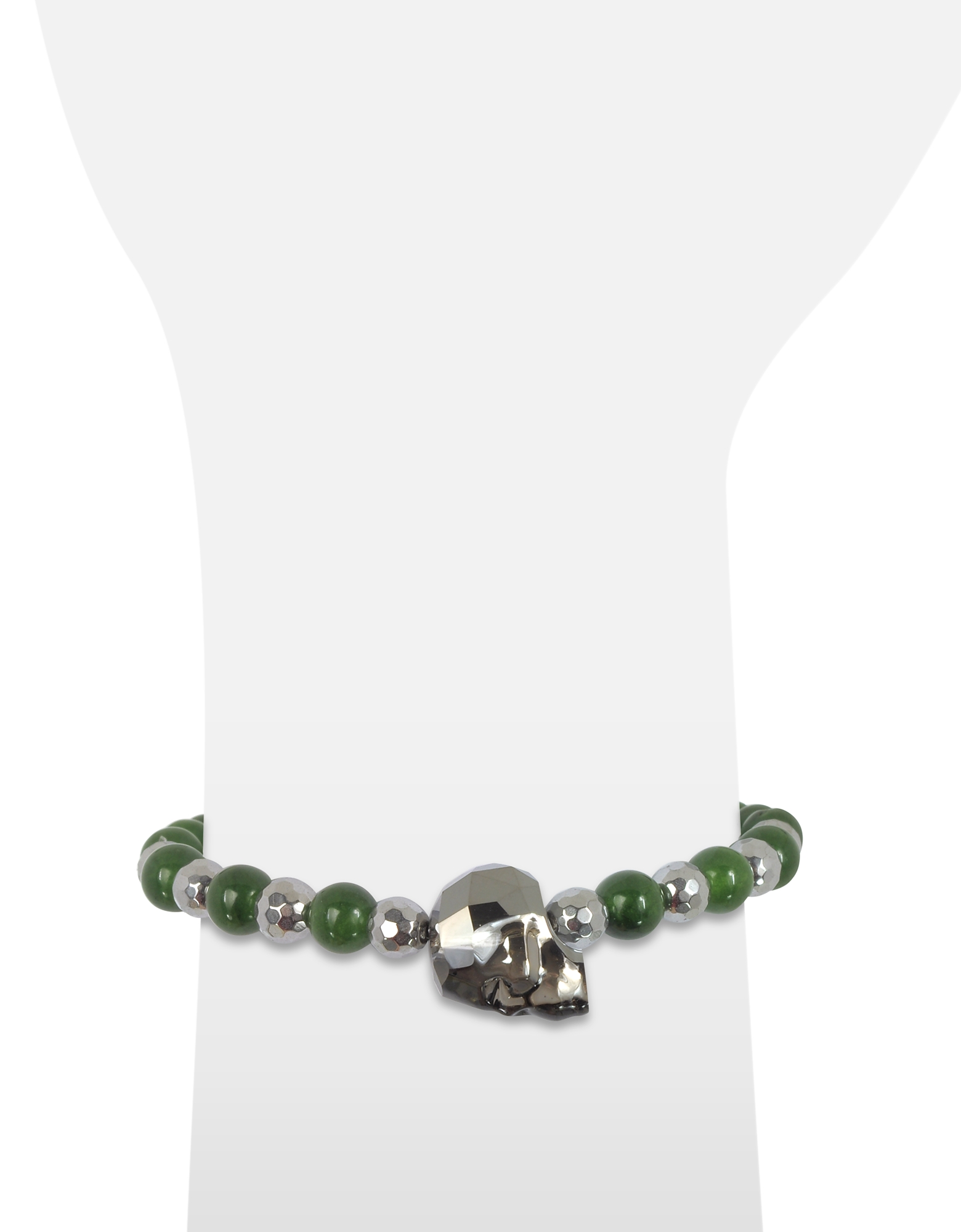 Jade Irregular Stone Men's Bracelet w/Gunmetal Swarovski Crystal Skull от Forzieri.com INT