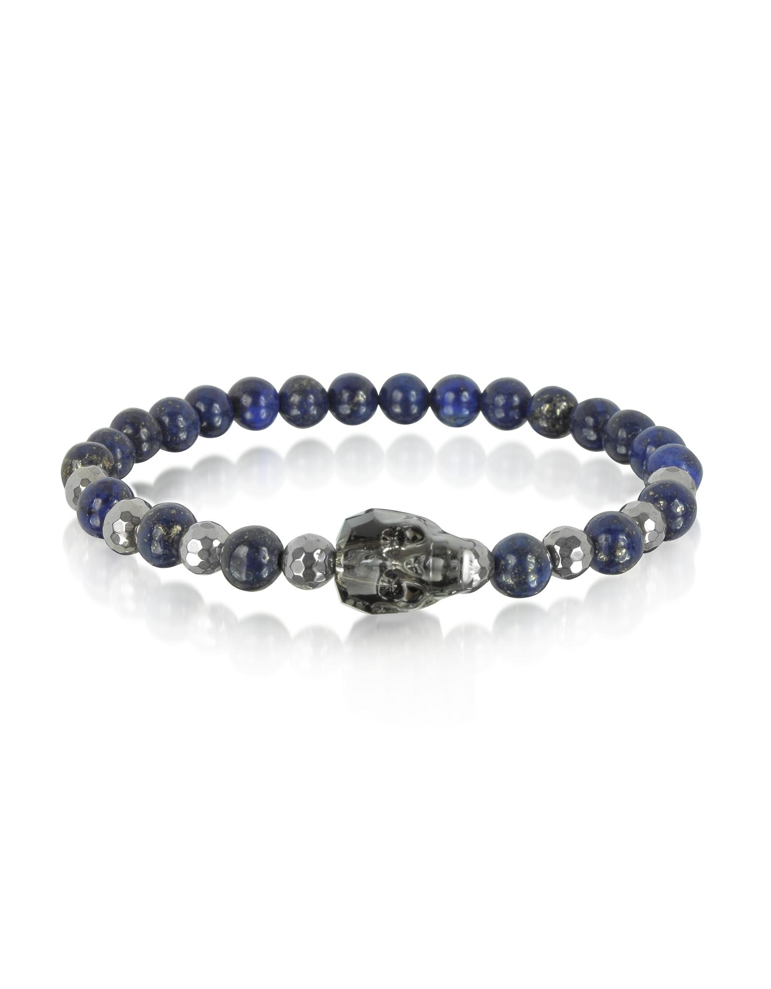 Braccialetto da Uomo con Perle di Lapislazzuli a Forma Irregolare e Teschio in Cristallo