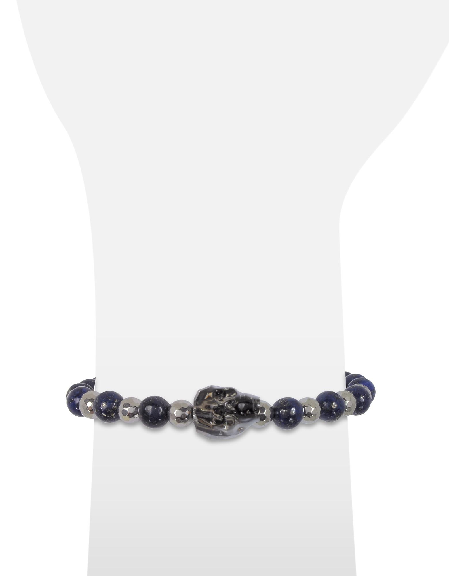Lapis Lazuli Irregular Stone Men's Bracelet w/Gunmetal Swarovski Crystal Skull от Forzieri.com INT