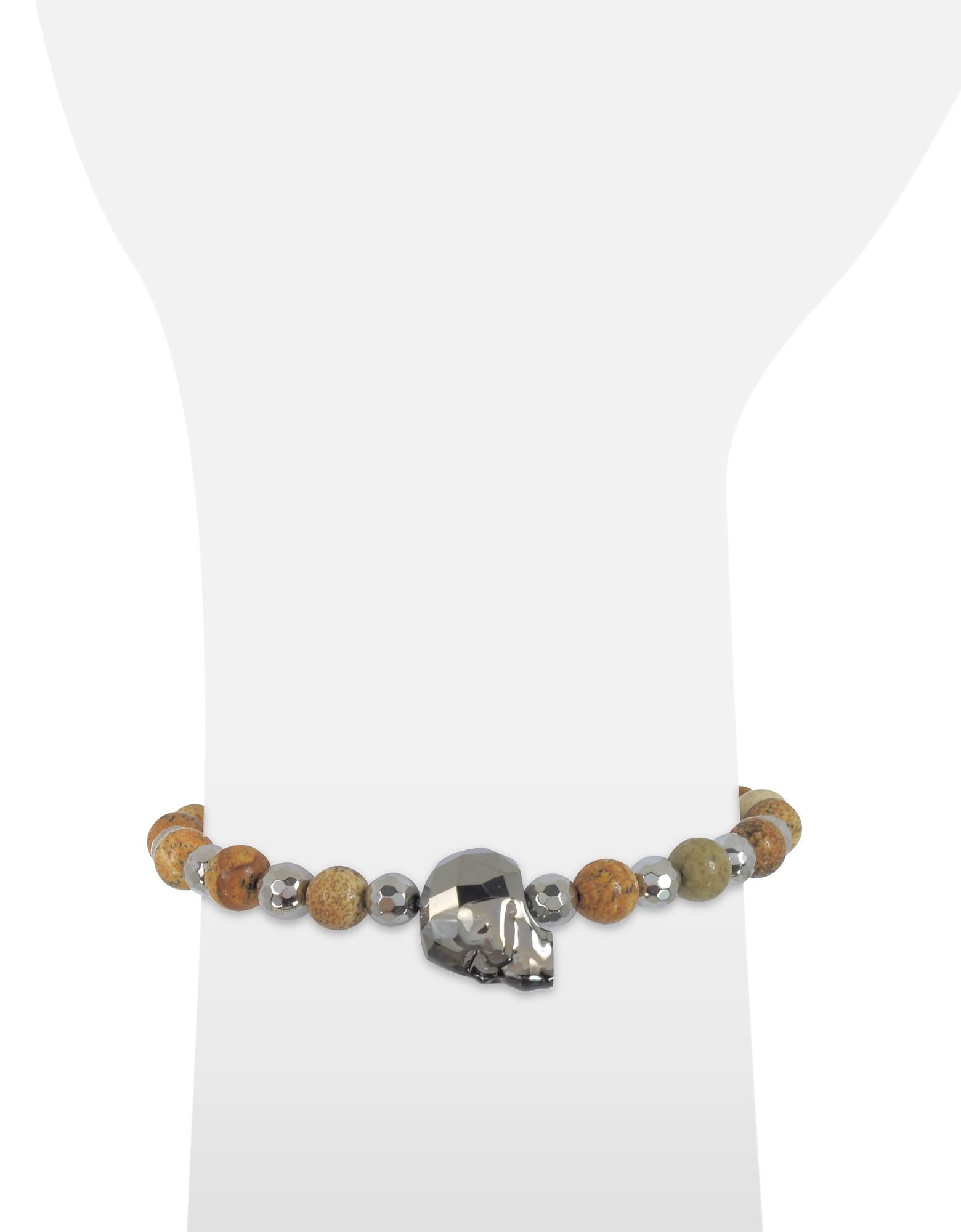 Rock Irregular Stone Men's Bracelet w/Gunmetal Swarovski Crystal Skull от Forzieri.com INT