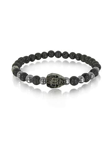 Blackbourne - Lava Irregular Stone Men's Bracelet w/Gunmetal Swarovski Crystal Skull