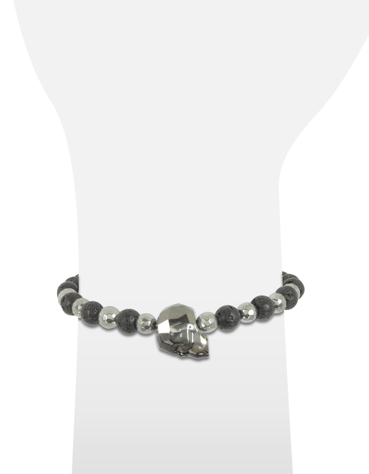 Lava Irregular Stone Men's Bracelet w/Gunmetal Swarovski Crystal Skull от Forzieri.com INT