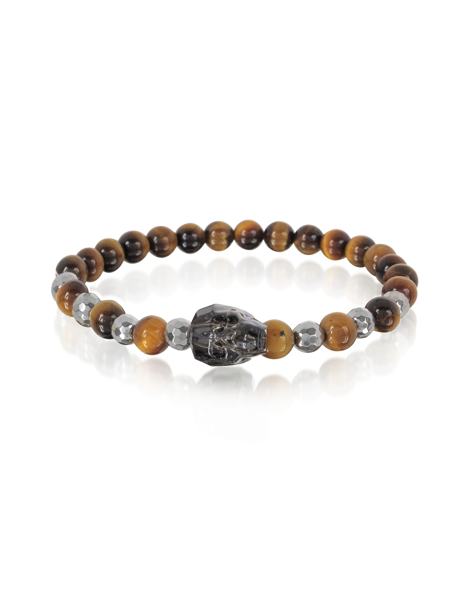 Image of Blackbourne Designer Men's Bracelets, Brown Tigers Eye Irregular Stone Men's Bracelet w/Gunmetal Swarovski Crystal Skull