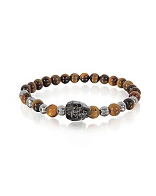Brown Tigers Eye Irregular Stone Men's Bracelet w/Gunmetal Swarovski Crystal Skull - Blackbourne